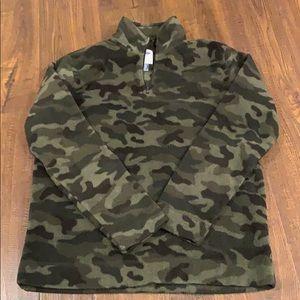 Old navy camouflage three-quarter zip mock fleece